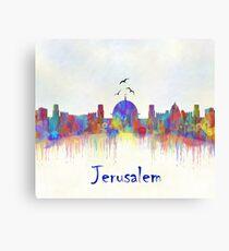 Jerusalem city skyline watercolor print Canvas Print