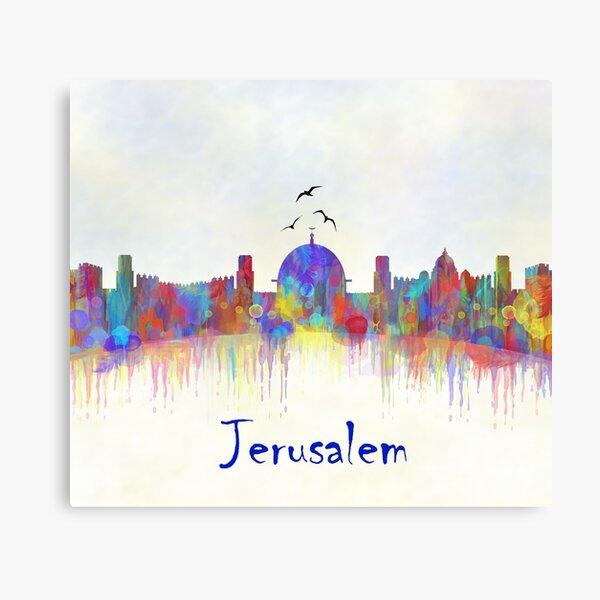 Impresión de acuarela del horizonte de la ciudad de Jerusalén Lienzo
