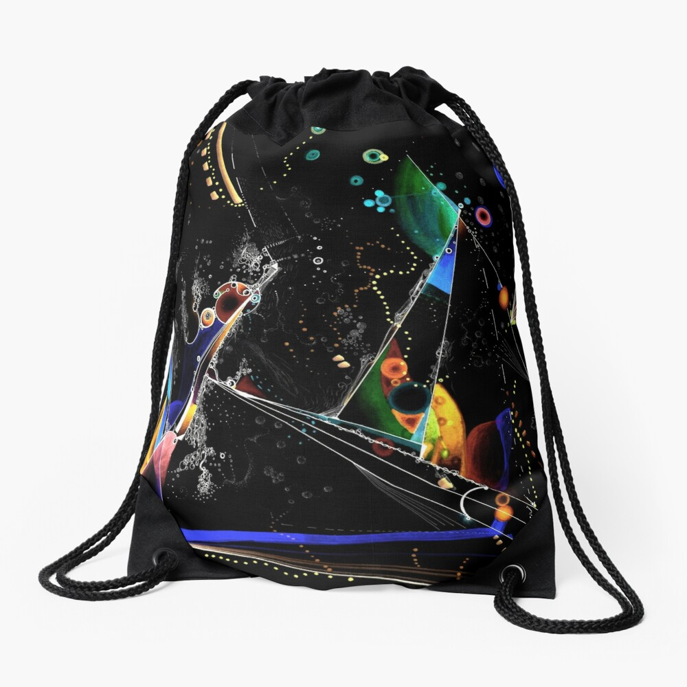 clothing and decor - Spanning the void inverted on black Drawstring Bag