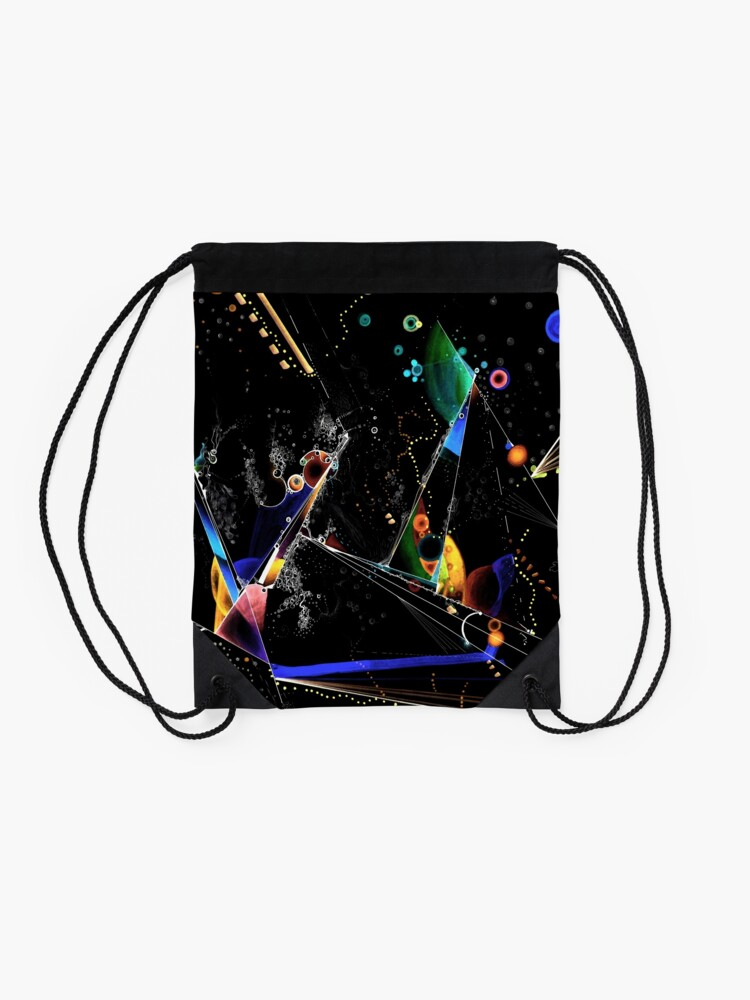 Alternate view of clothing and decor - Spanning the void inverted on black Drawstring Bag