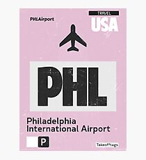 PHL Philadelphia airport code Photographic Print