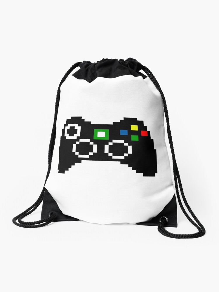 Xbox 360 Controller Pixel Art Drawstring Bag By Crampsy