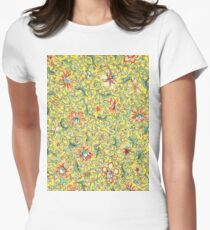 Yellow and Peach Floral Pattern Women's Fitted T-Shirt
