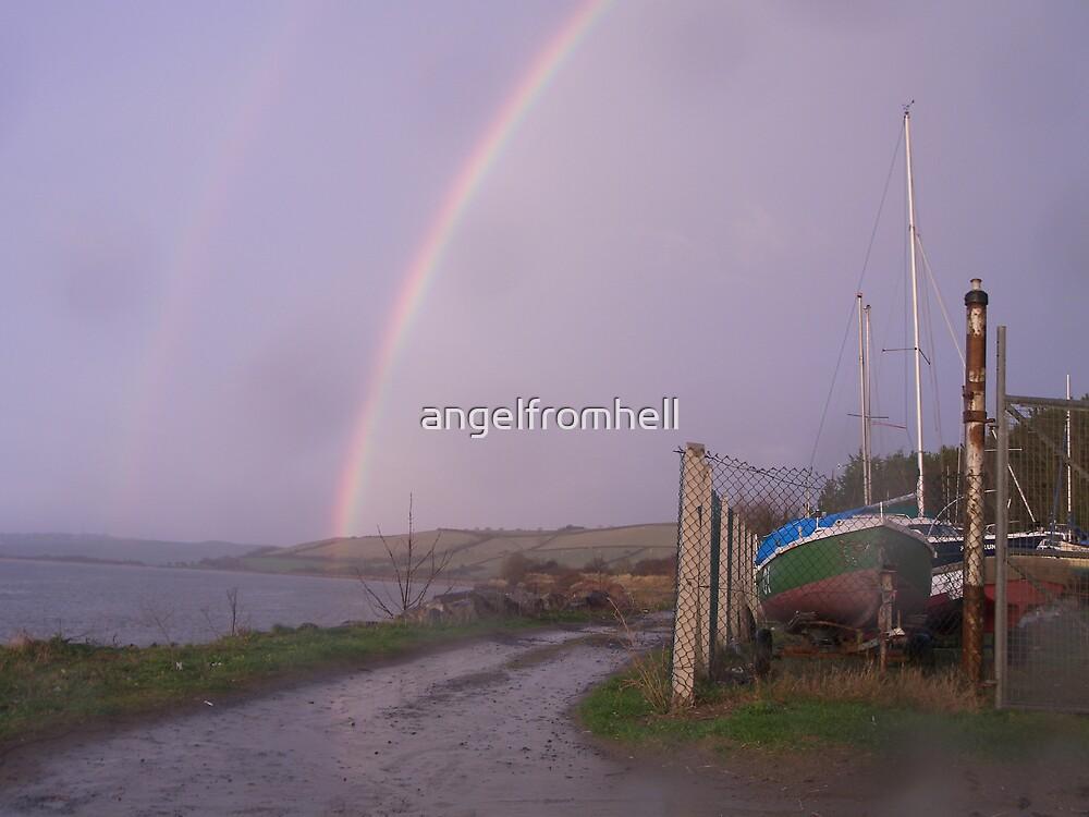 rainbow, ferryside beach by angelfromhell
