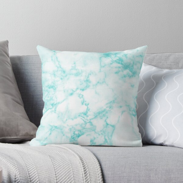 White and Teal Marble Throw Pillow