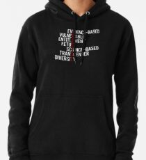 trump's seven banned words CDC: I RESIST 7 evidence-based vulnerable entitlement fetus science-based transgender diversity red white text Pullover Hoodie