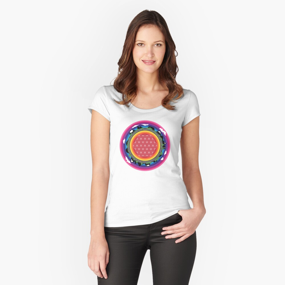 Flower Planet (round) Women's Fitted Scoop T-Shirt Front