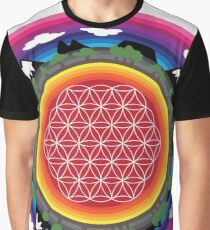 Flower Planet (round) Graphic T-Shirt