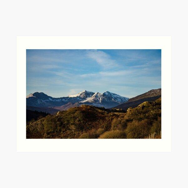 snow capped image of snowdon mountain  Art Print