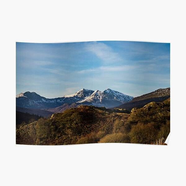 snow capped image of snowdon mountain  Poster