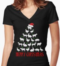 MERRY CHRISTMAS ANIMALS FARM T-SHIRT Women's Fitted V-Neck T-Shirt