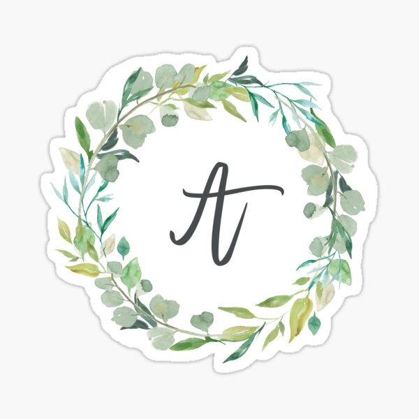 Letter A Leafy Wreath Monogram  Sticker