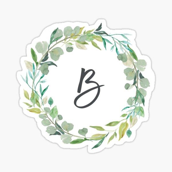 Letra B Monograma de guirnalda frondosa Pegatina
