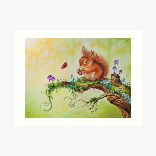Squirrel and ladybug by Maria Tiqwah Art Print