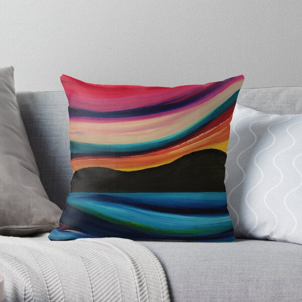 Sweeping down to the sea -  abstract sunset silhouette seascape     Throw Pillow