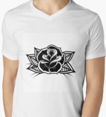 Tattoo style rose illustration Men's V-Neck T-Shirt