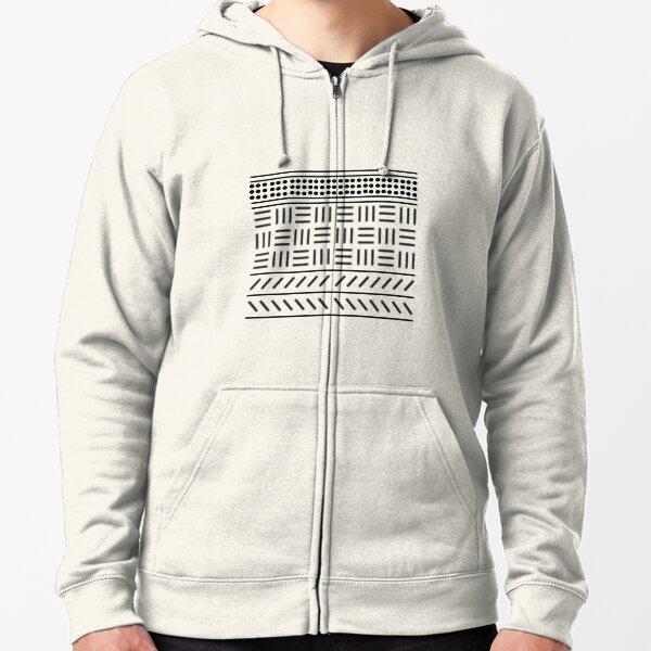 Digital mud cloth pattern Zipped Hoodie