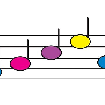 Music Notes Purple Pink Blue Yellow by ValeriesGallery