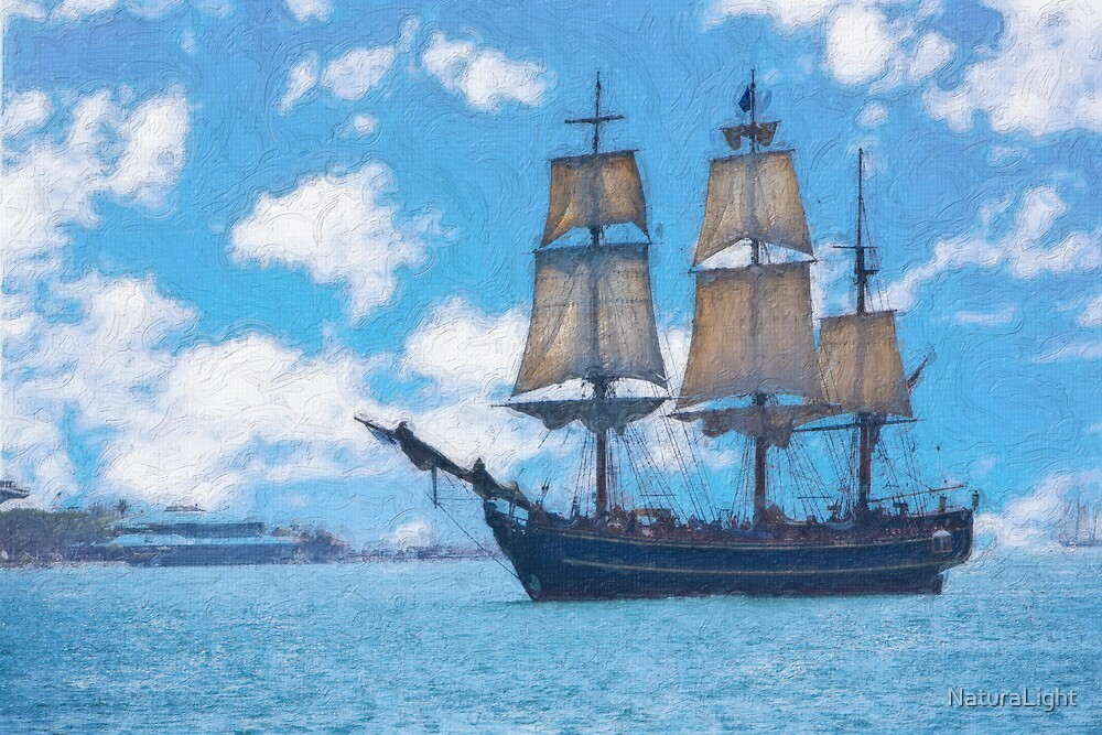 Impasto stylized photo of the Tall Ship HMS Bounty at the Festival of Sail in San Diego, CA US.   by NaturaLight