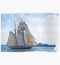 Impasto stylized photo of the Tall Sailing Ship Californian.  Poster