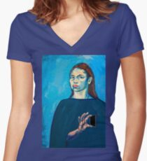 Check Yourself (self portrait) Women's Fitted V-Neck T-Shirt