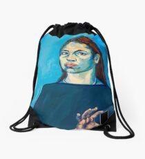 Check Yourself (self portrait) Drawstring Bag