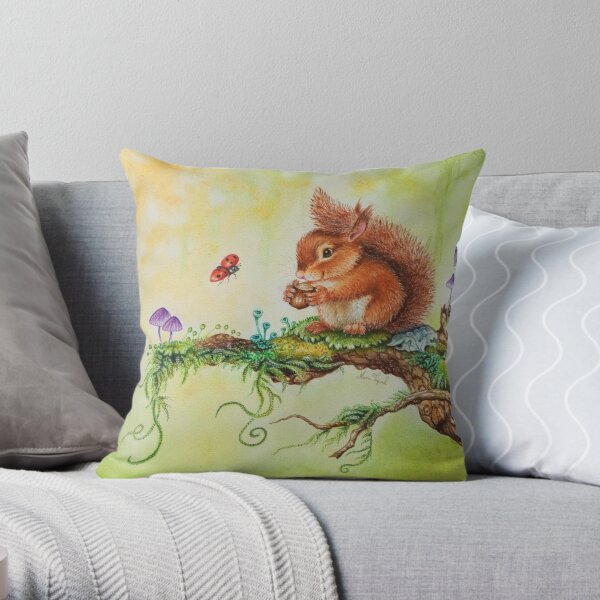 Squirrel and ladybug by Maria Tiqwah Throw Pillow