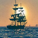 Impasto stylized photo of the Tall Ship Pilgrim sailing  off Dana Point, CA US. by NaturaLight