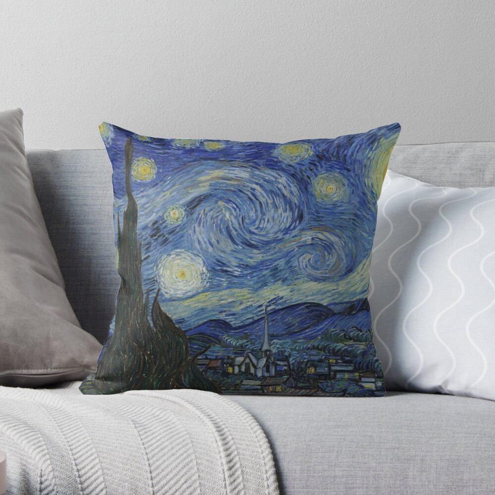 Starry Night Oil painting by Vincent van Gogh Throw Pillow