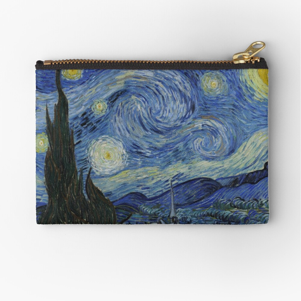 Starry Night Oil painting by Vincent van Gogh Zipper Pouch