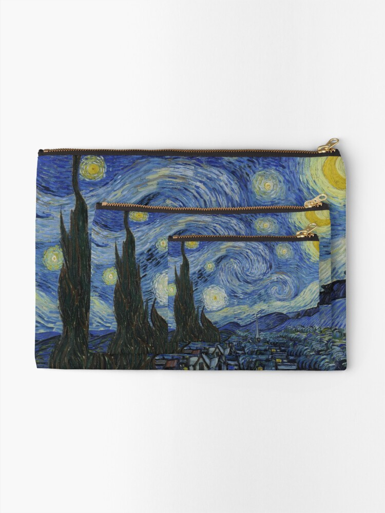 Alternate view of Starry Night Oil painting by Vincent van Gogh Zipper Pouch
