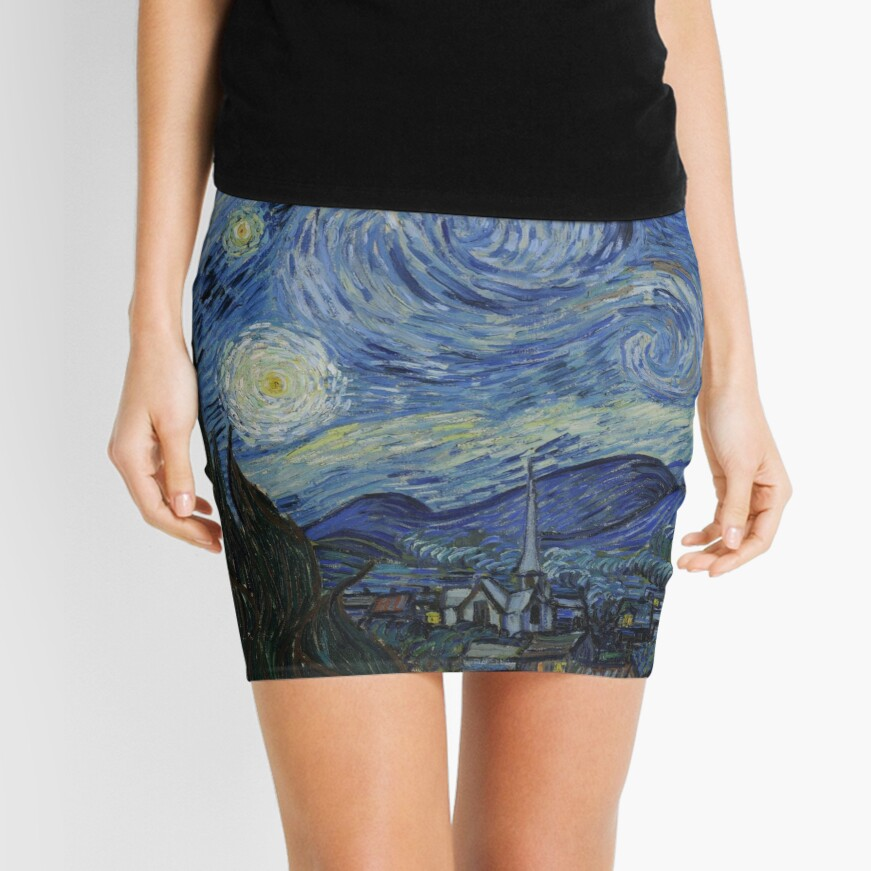 Starry Night Oil painting by Vincent van Gogh Mini Skirt