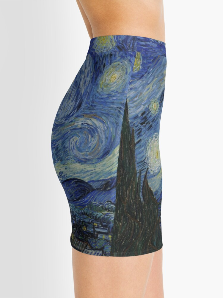 Alternate view of Starry Night Oil painting by Vincent van Gogh Mini Skirt