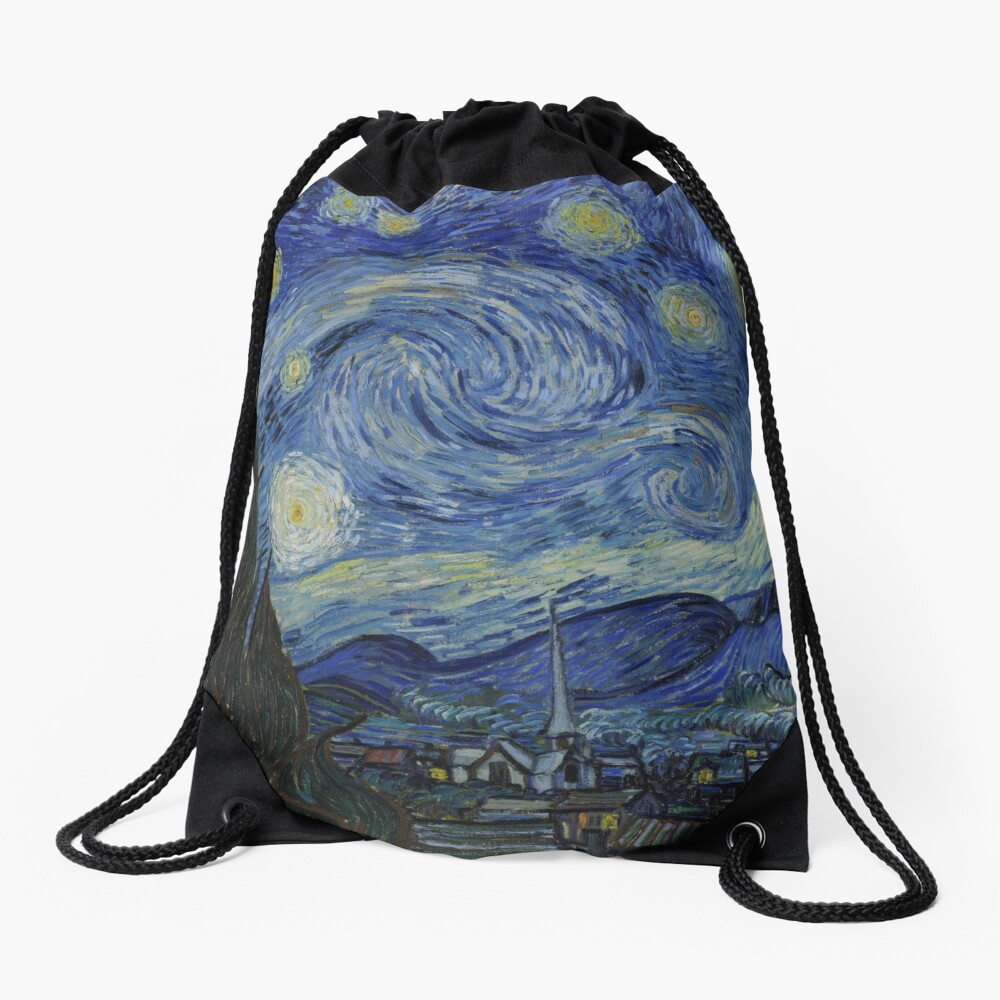 Starry Night Oil painting by Vincent van Gogh Drawstring Bag