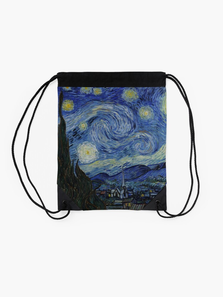 Alternate view of Starry Night Oil painting by Vincent van Gogh Drawstring Bag