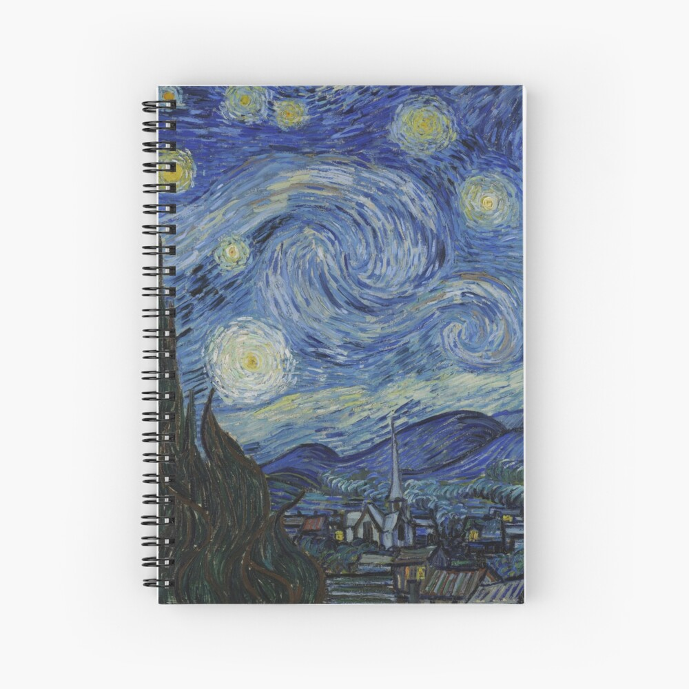 Starry Night Oil painting by Vincent van Gogh Spiral Notebook