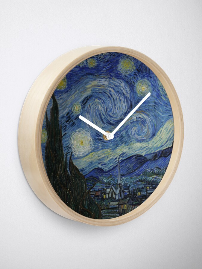 Alternate view of Starry Night Oil painting by Vincent van Gogh Clock