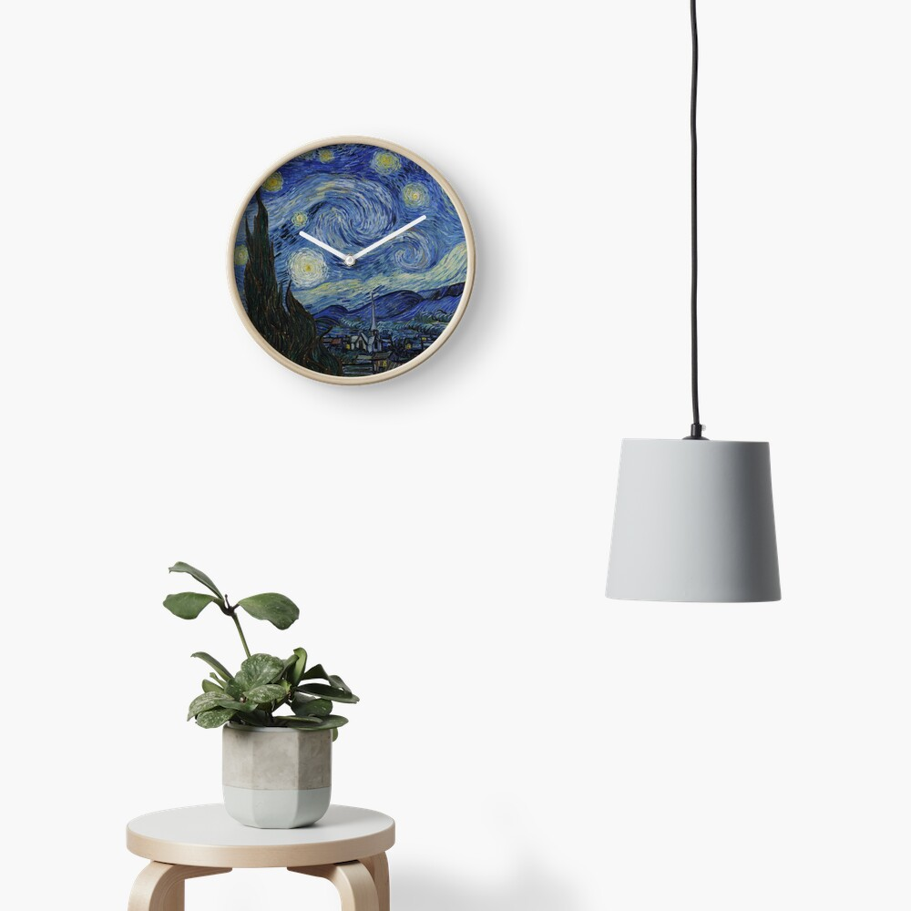 Starry Night Oil painting by Vincent van Gogh Clock