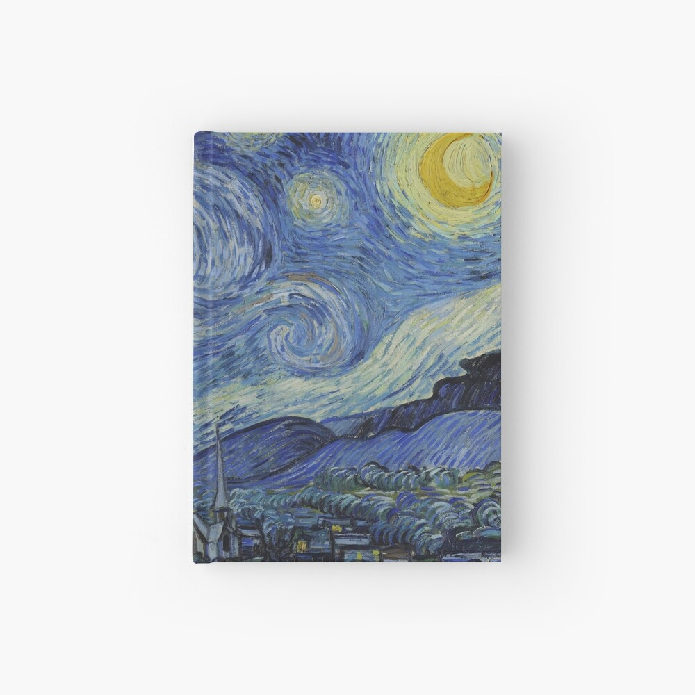 Starry Night Oil painting by Vincent van Gogh Hardcover Journal