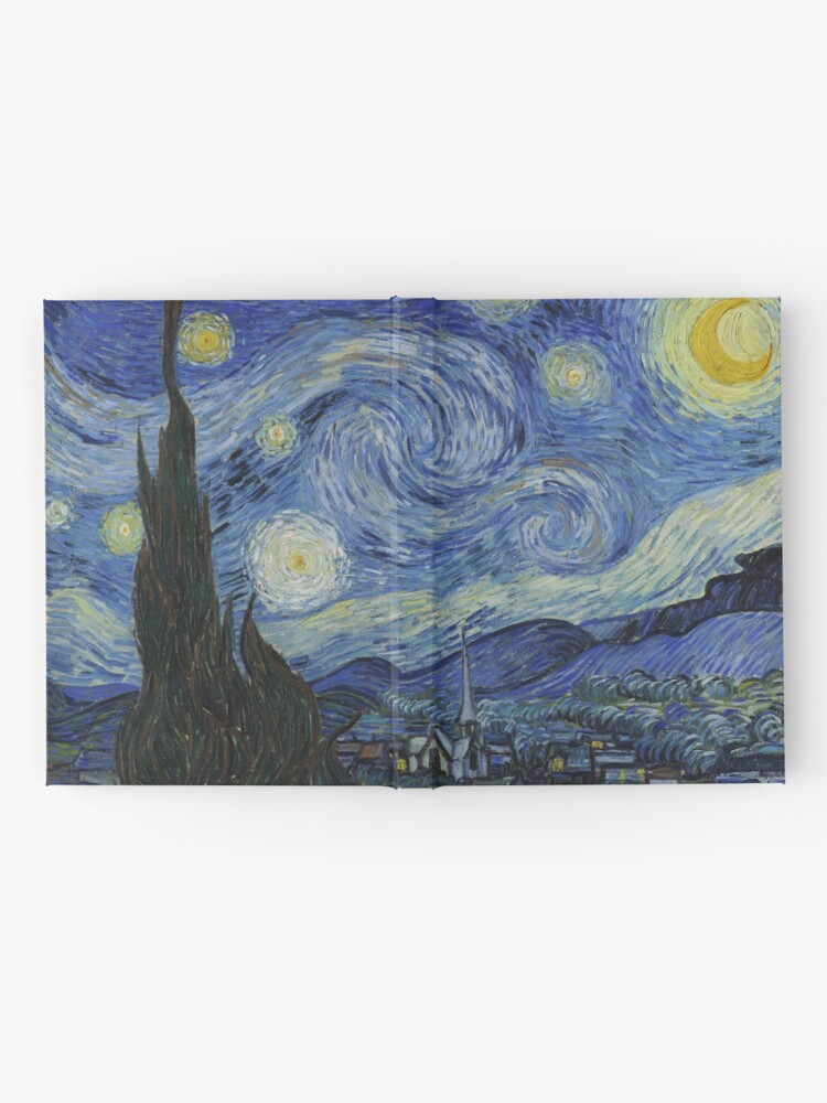 Alternate view of Starry Night Oil painting by Vincent van Gogh Hardcover Journal
