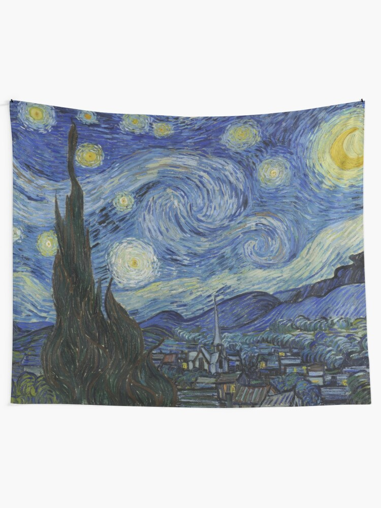 Alternate view of Starry Night Oil painting by Vincent van Gogh Tapestry