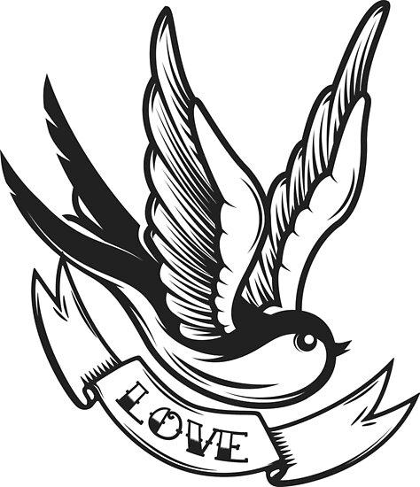 Pósters Tatuaje De La Vieja Escuela Pájaro Golondrina De Kotliar
