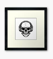 Skull with headphones  Framed Print