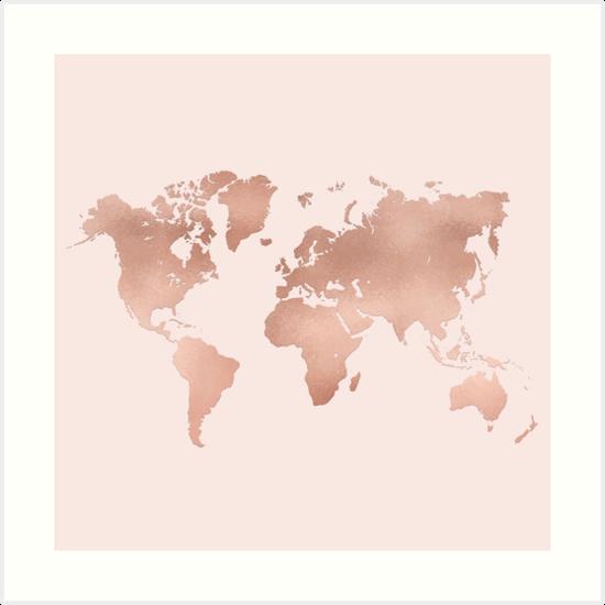 Rose gold world map art prints by lolomastudio redbubble rose gold world map by lolomastudio gumiabroncs Choice Image