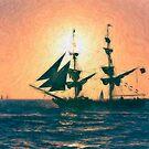 Impasto stylized photo of the Tall Ship Exy Johnson off Dana Point, CA US. by NaturaLight