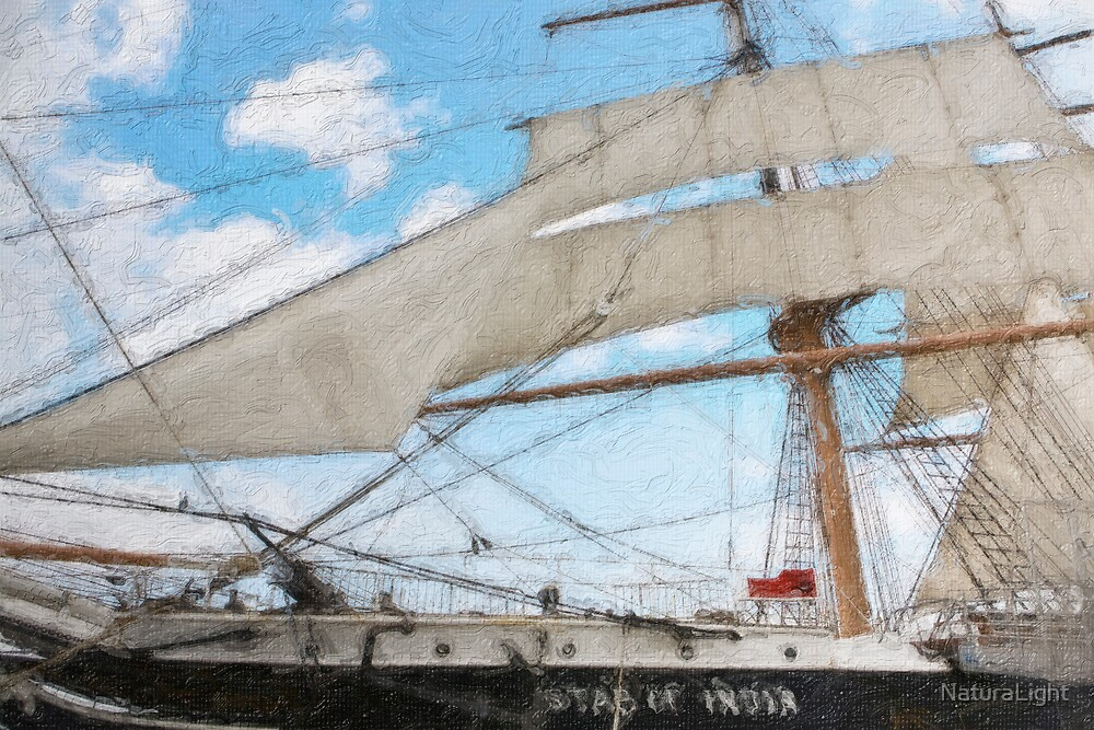 Impasto stylized  wide angle photo of the Tall Ship Star of India, owned by the San Diego Maritime Museum, CA. by NaturaLight