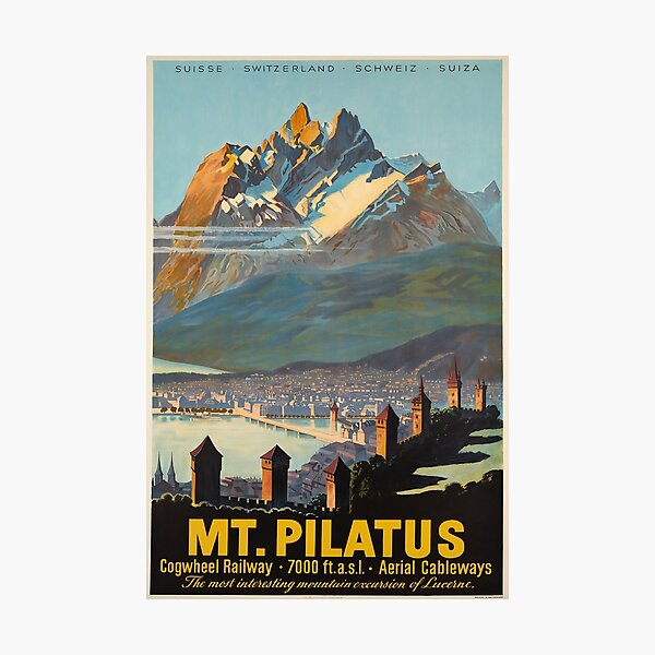 Mt.Pilatus,Switzerland,Ski Poster Photographic Print