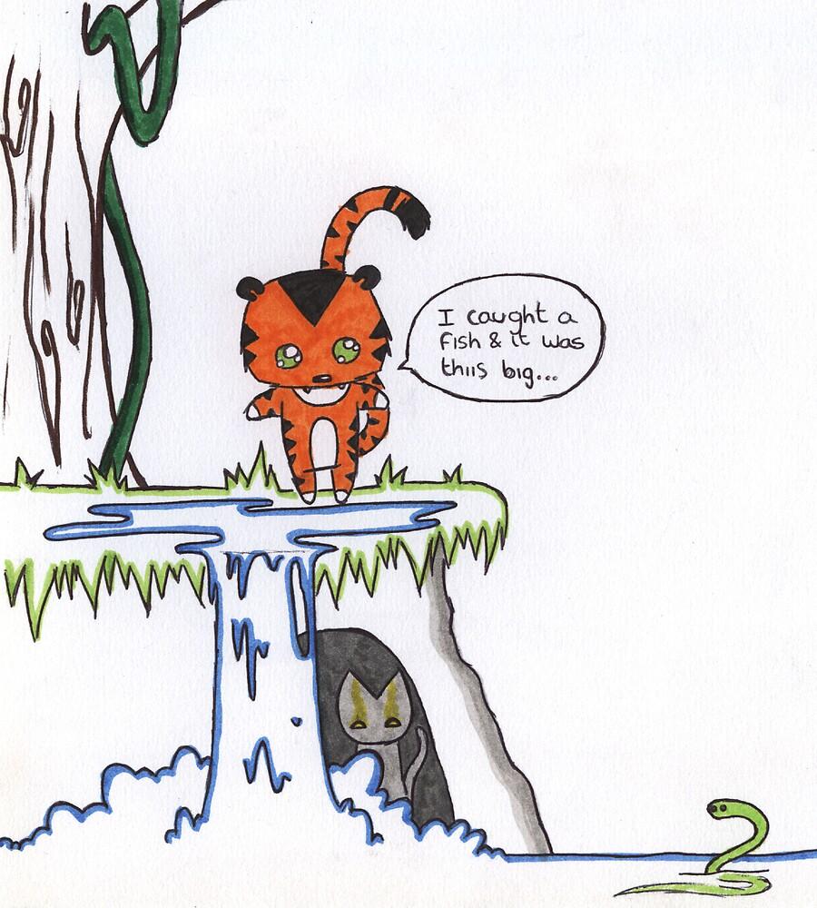 tiger catch fish by FatPanda