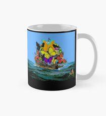 SCHMETTERLING: Abstraktes psychedelisches Piraten-Segelschiff Tasse