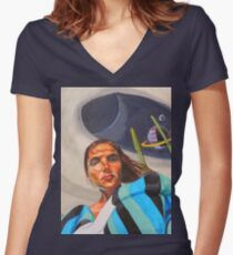 Planetary Peace (self portrait) Women's Fitted V-Neck T-Shirt